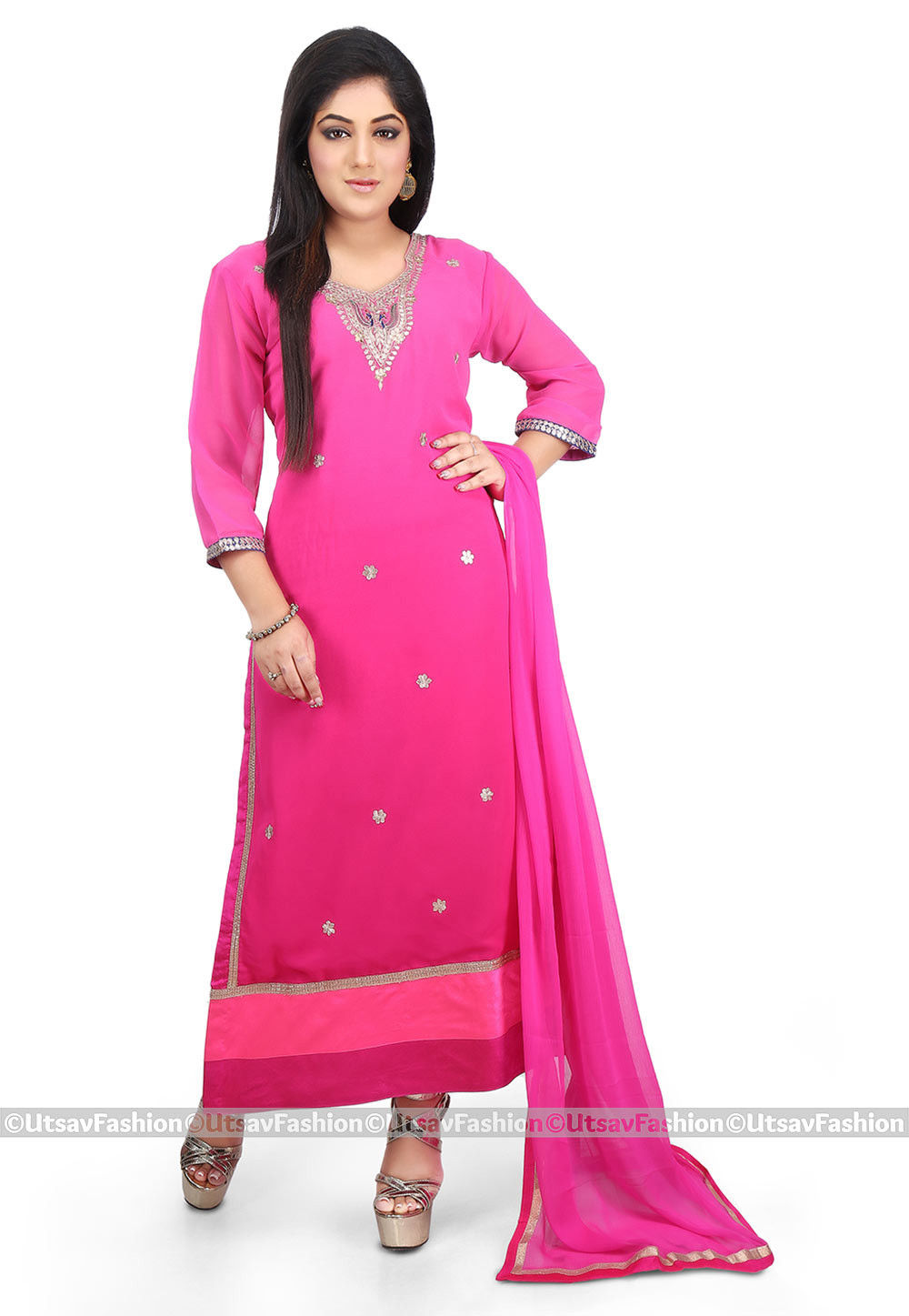 Hand Embroidered Georgette Straight Suit in Fuchsia Ombre