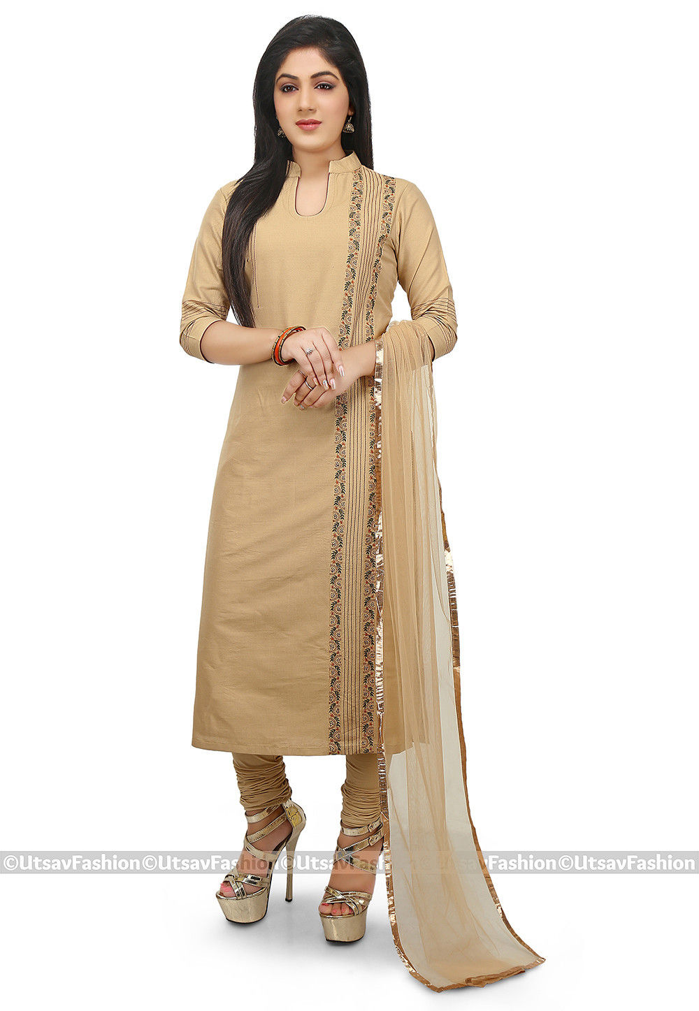 Plain Cotton Silk Straight Suit in Beige