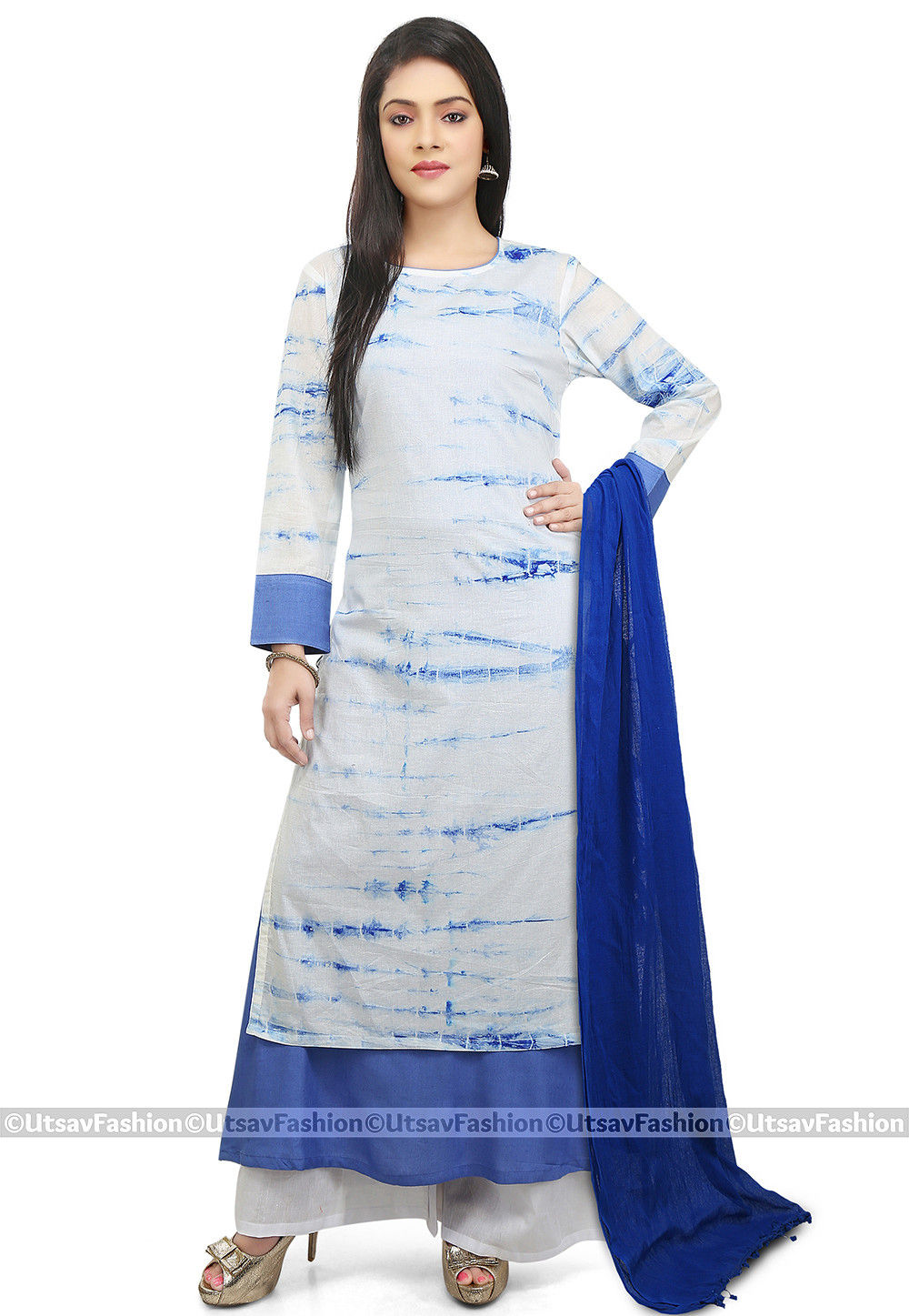 Tie Dye Cotton Pakistani Suit in White and Blue
