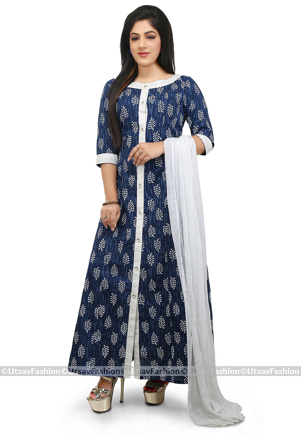 Dabu Printed Cotton A Line Suit in Indigo