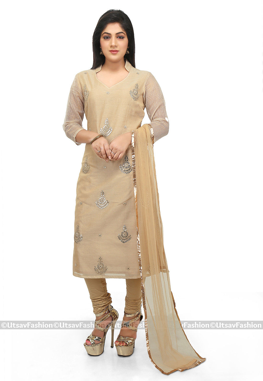 Embroidered Chanderi Cotton Straight Suit in Beige