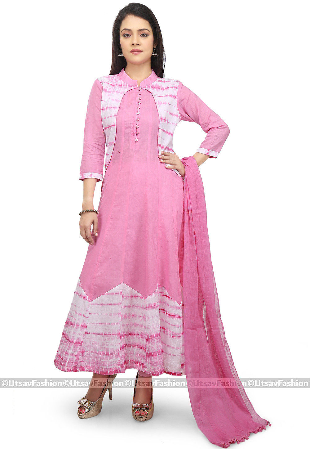 Tie Dye Cotton Anarkali Suit in Pink