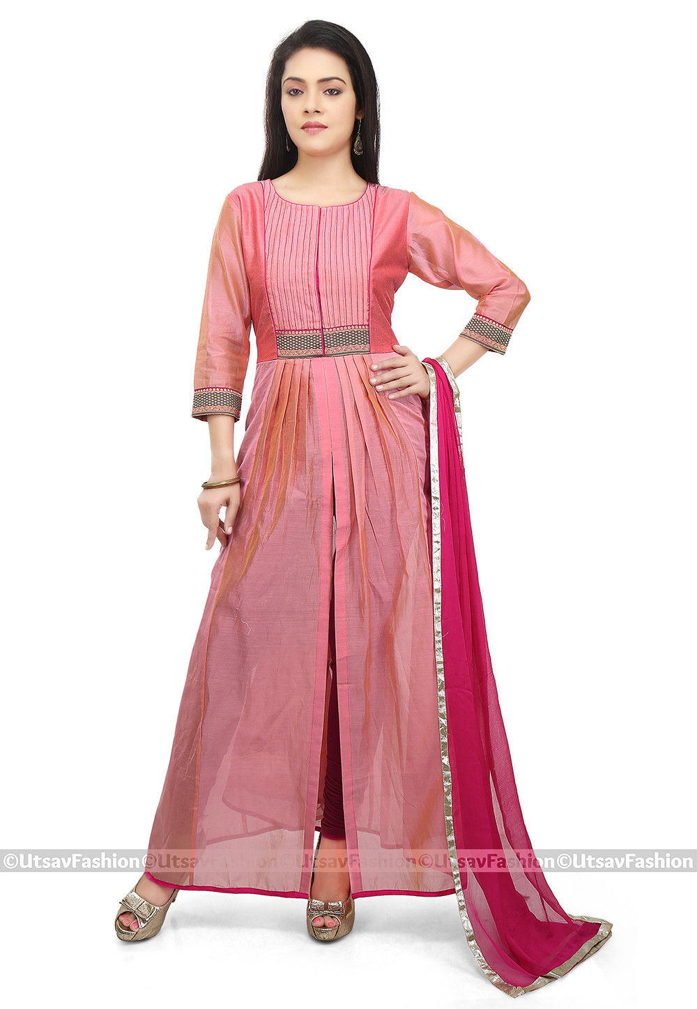 Front Slit Chanderi Silk Straight Suit in Coral