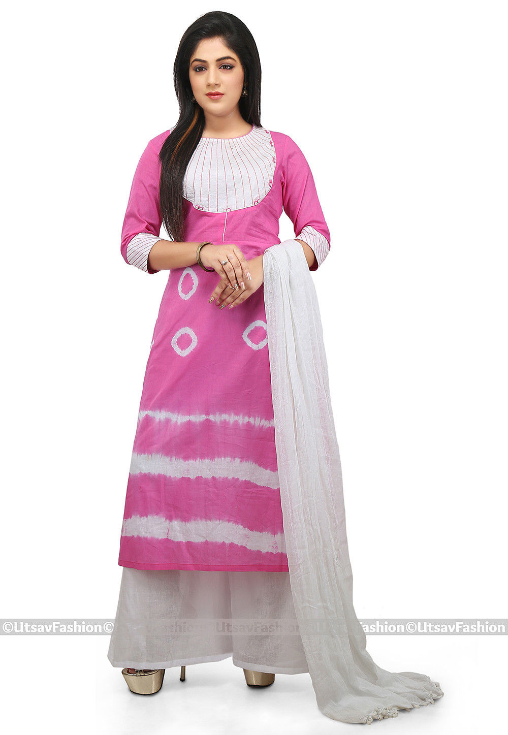 Tie Dye Cotton Pakistani Suit in Pink