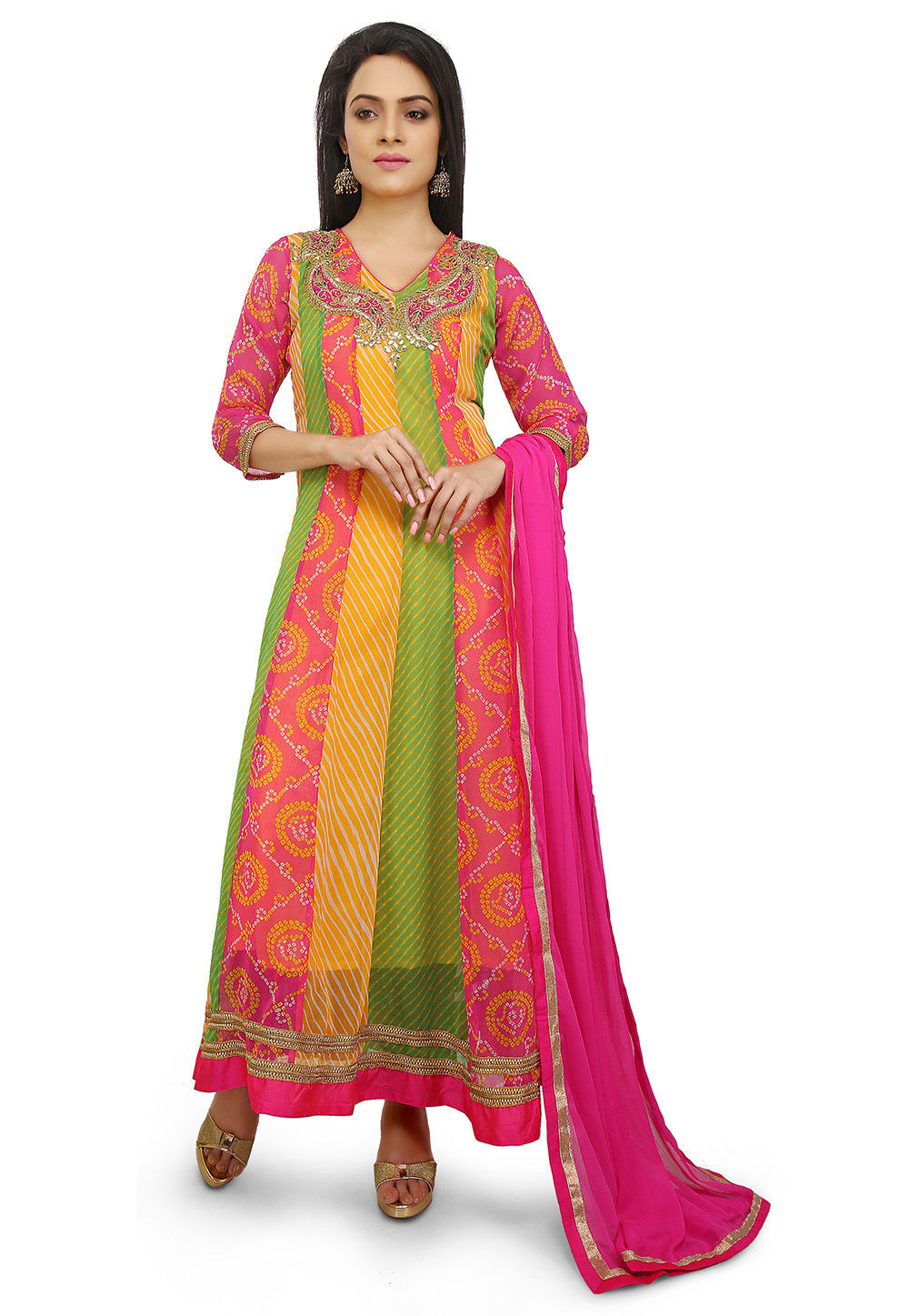Embroidered Georgette Abaya Style Suit in Multicolor