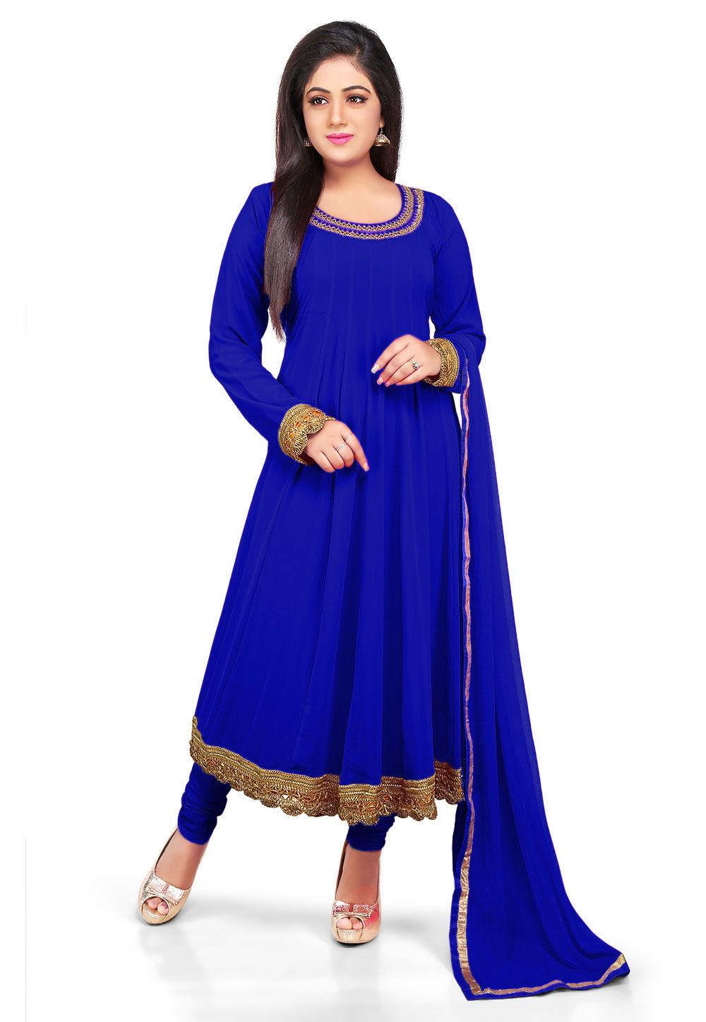 86ddc00258 Plain Georgette Anarkali Suit in Royal Blue : KJN2782