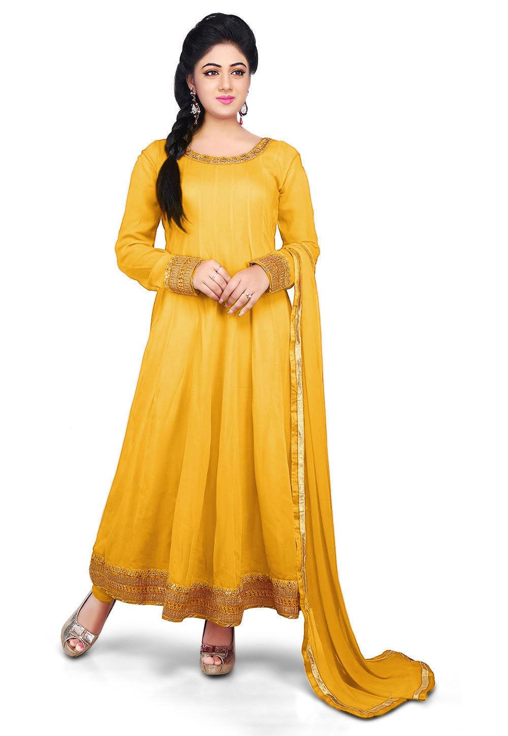 0640156296 ... Plain Georgette Anarkali Suit in Yellow. Zoom