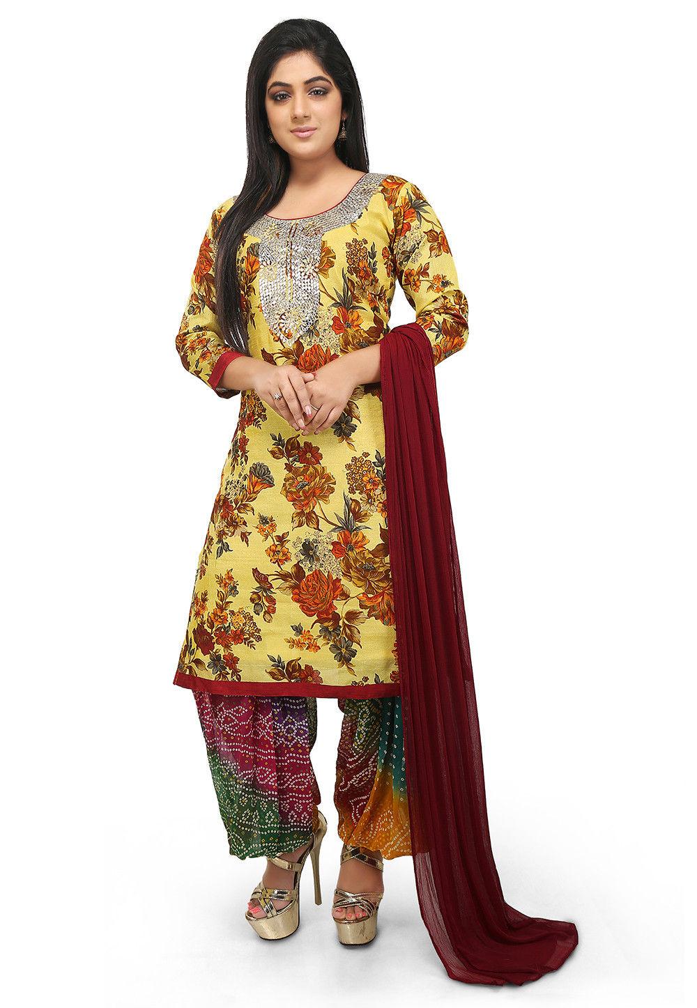 Printed  Bhagalpuri Silk Straight Suit in Light Yellow