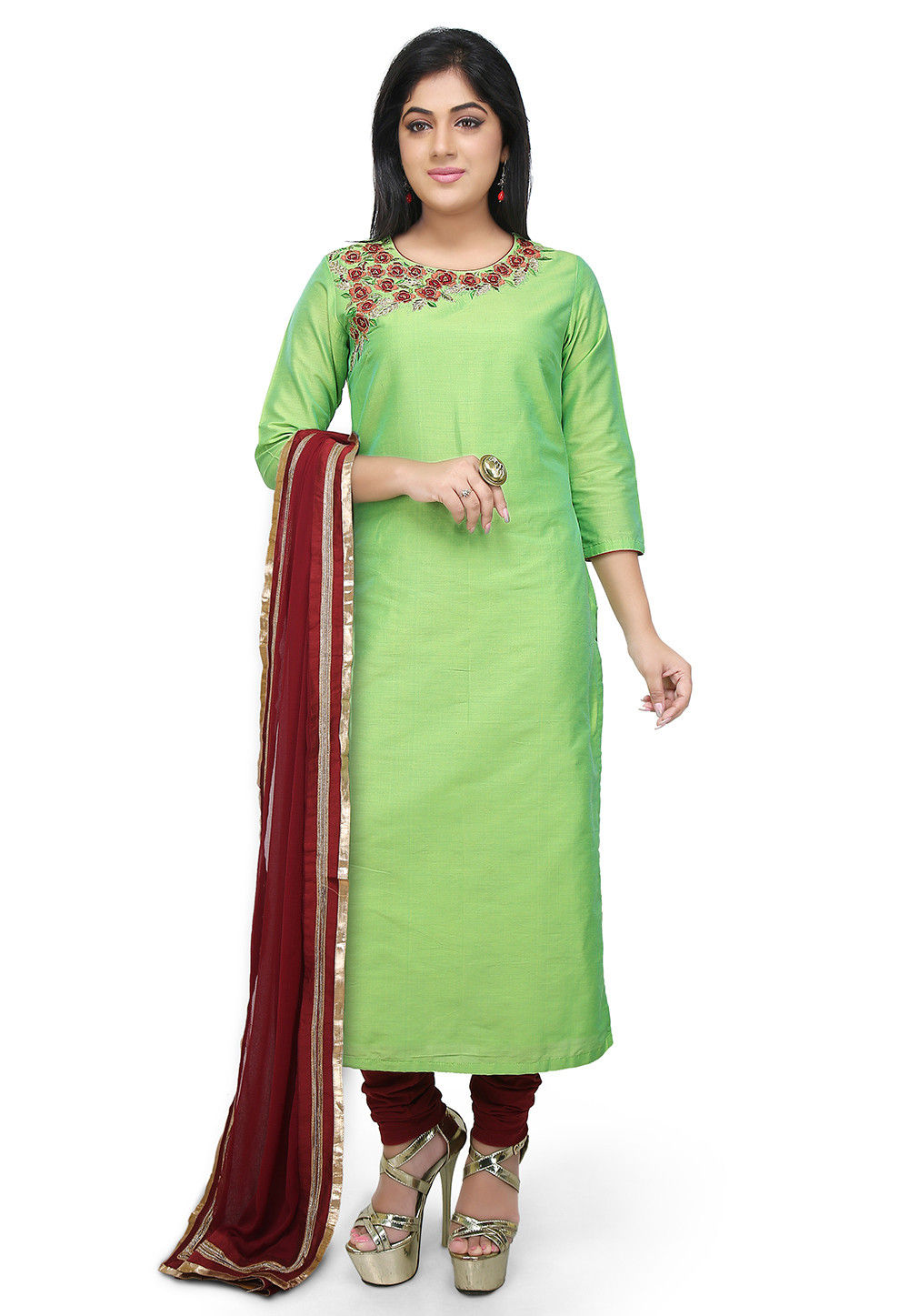Embroidered Cotton Silk Straight Suit in Light Green