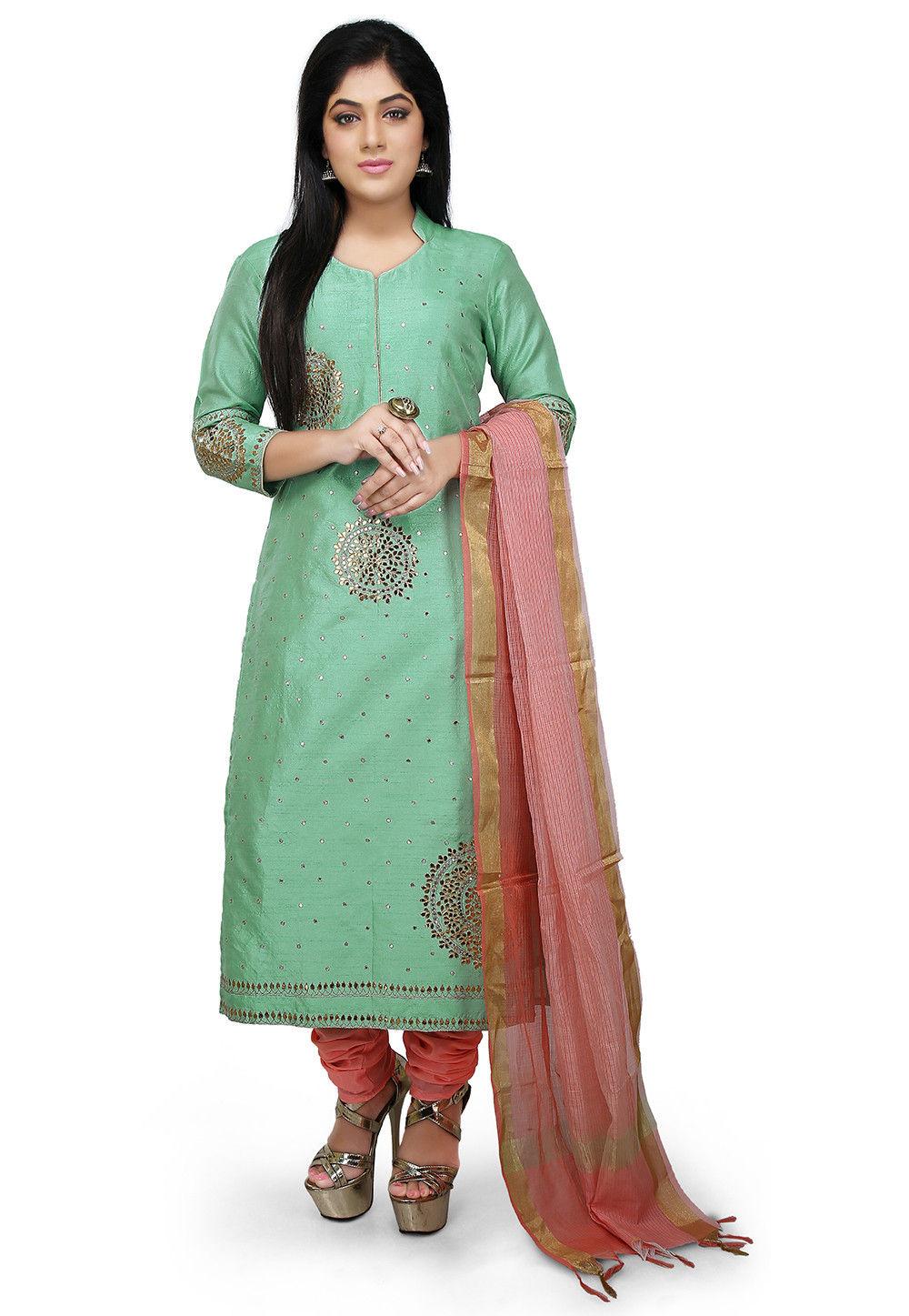 Embroidered Bhagalpuri Silk Straight Suit in Sea Green