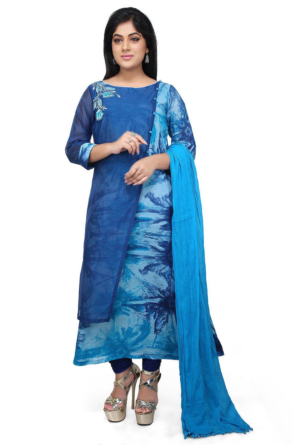 Tie Dye Cotton A Line Suit in Blue