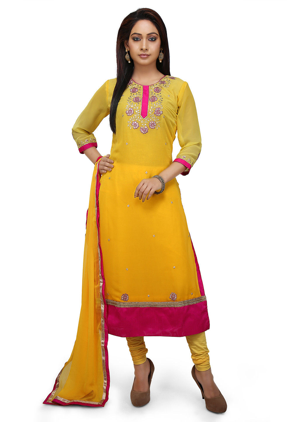 Embroidered Georgette Straight Suit in Yellow