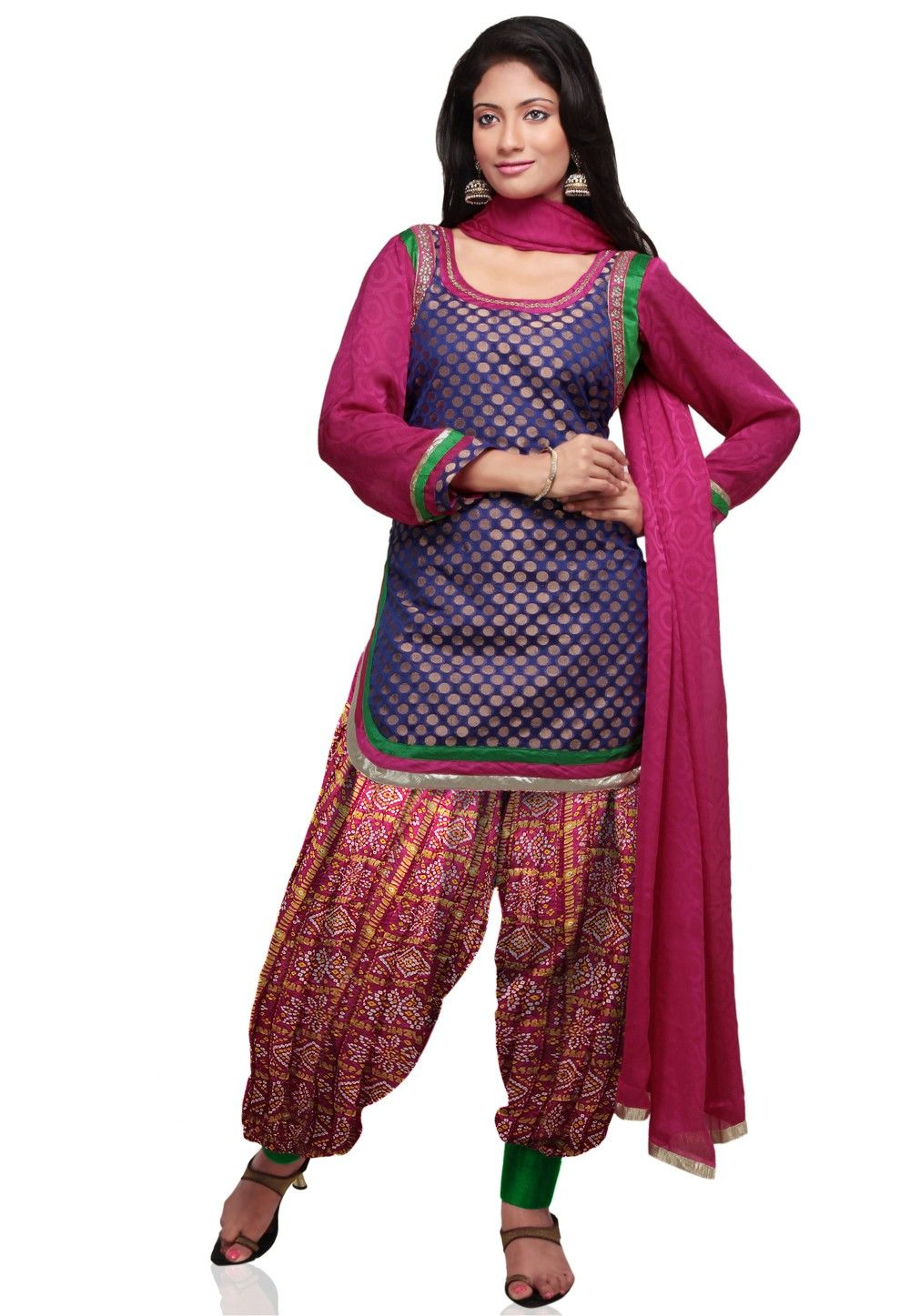 Chanderi Brocade Punjabi Suit in Royal Blue