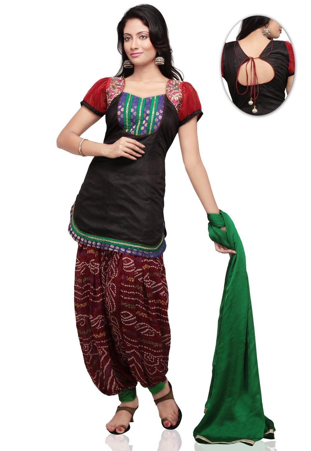 Embroidered Dupion Silk Punjabi Suit in Black and Red