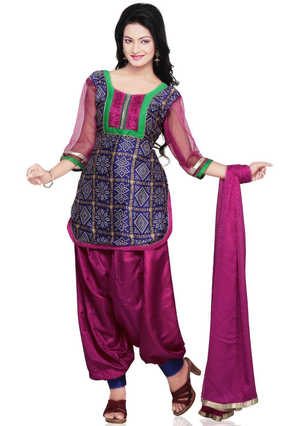 Bandhani Printed Crepe Punjabi Suit in Purple