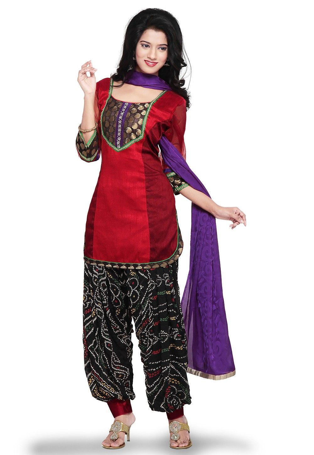Plain Ghicha Silk Punjabi Suit in Red and Maroon