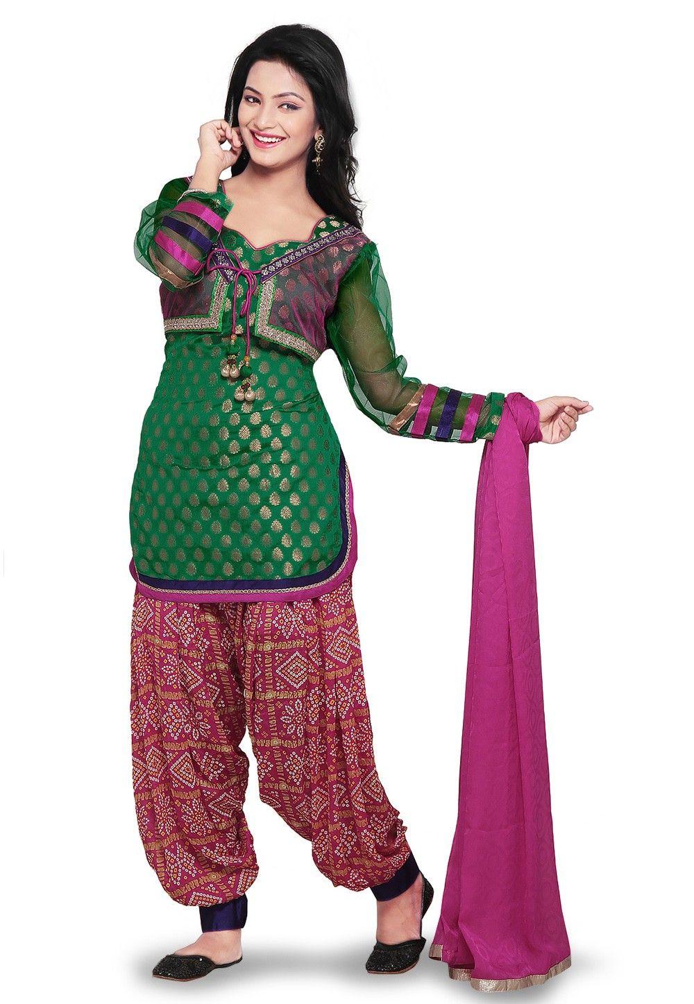 Chanderi Brocade and Net Punjabi Suit in Green