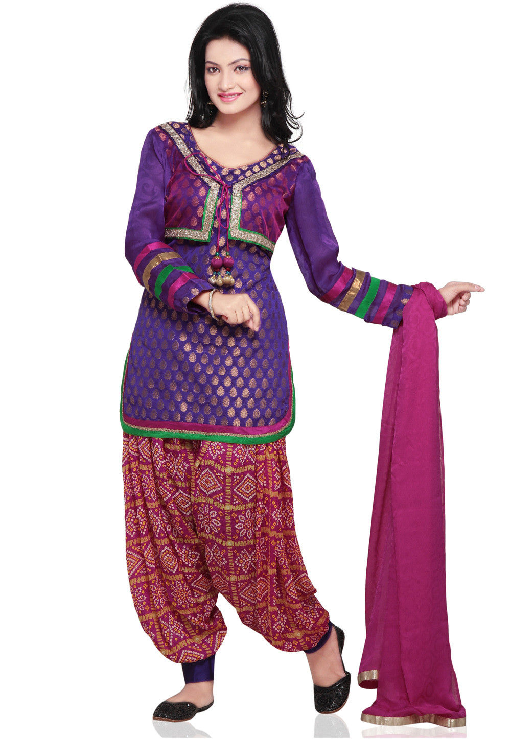 Plain Straight Cut Jacket Style Chanderi Brocade Suit in Purple