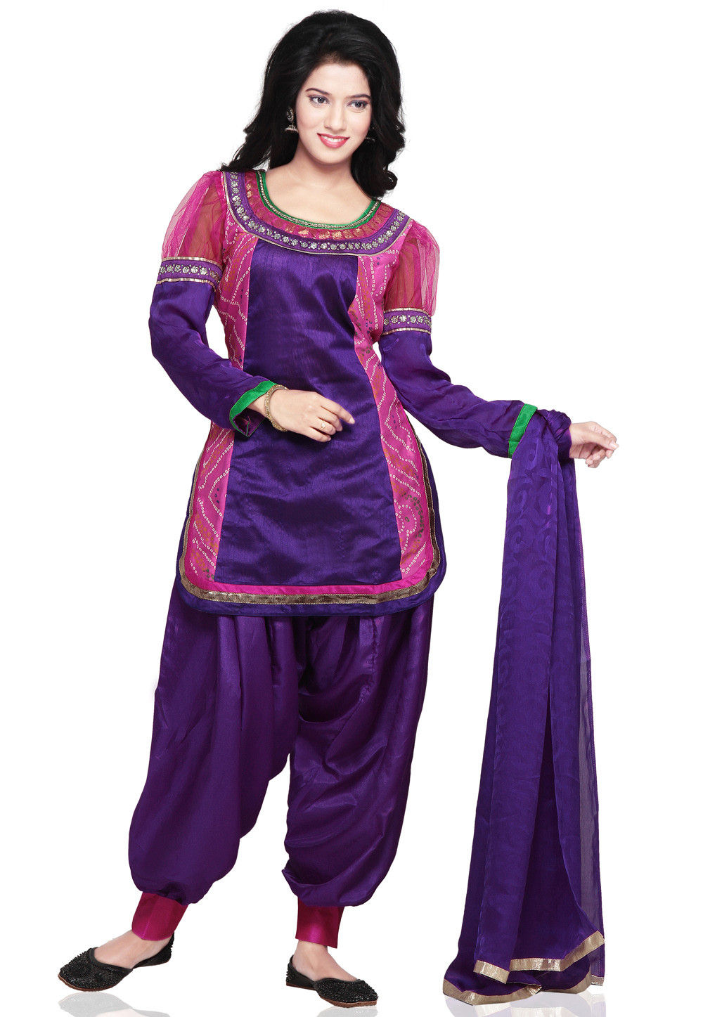 Plain Straight Cut Dupion Silk and Crepe Suit in Purple and Pink
