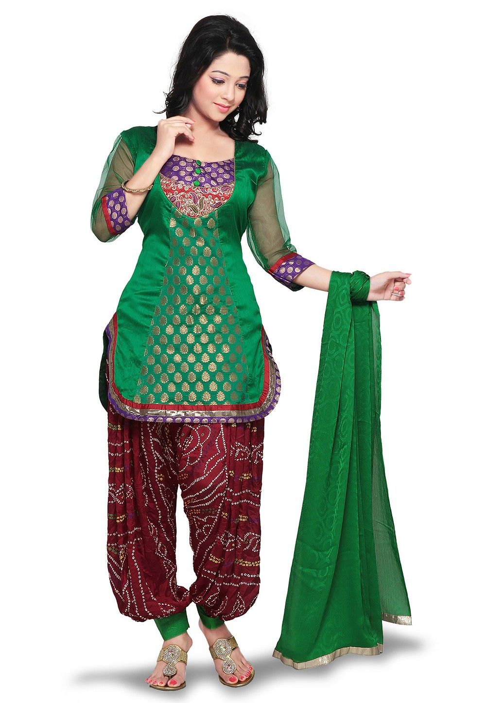 Plain Straight Cut Brocade Suit in Green