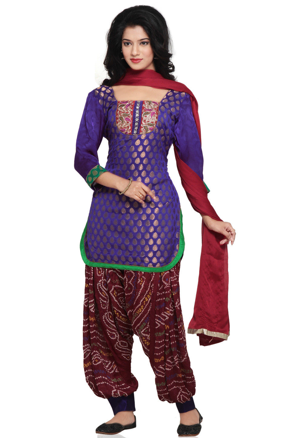 Plain Straight Cut Chanderi Brocade Suit in Purple
