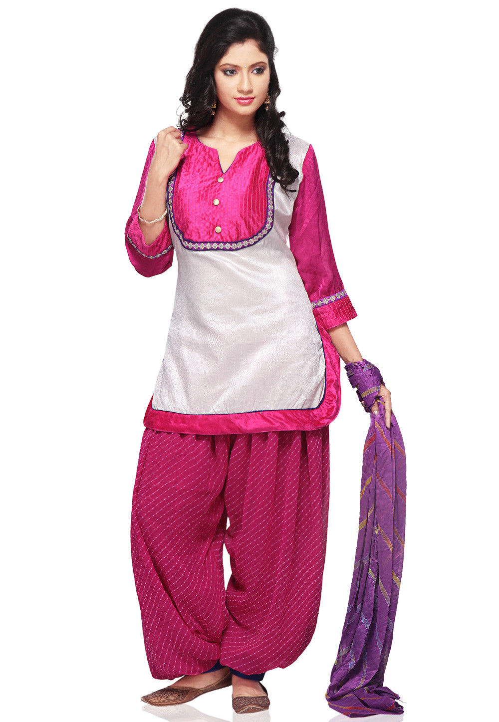 Plain Dupion Silk Punjabi Suit in yellow and White