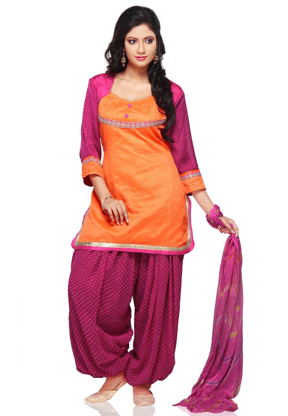 Plain Dupion Silk Punjabi Suit in Orange