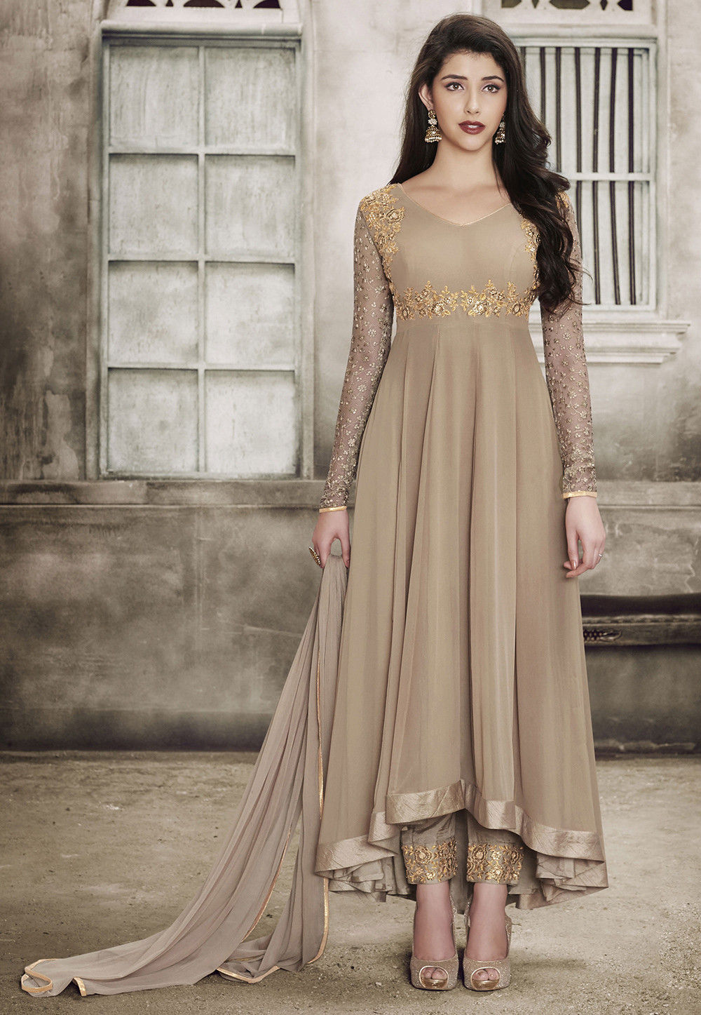 Embroidered Georgette Asymmetric Pakistani Suit in Beige