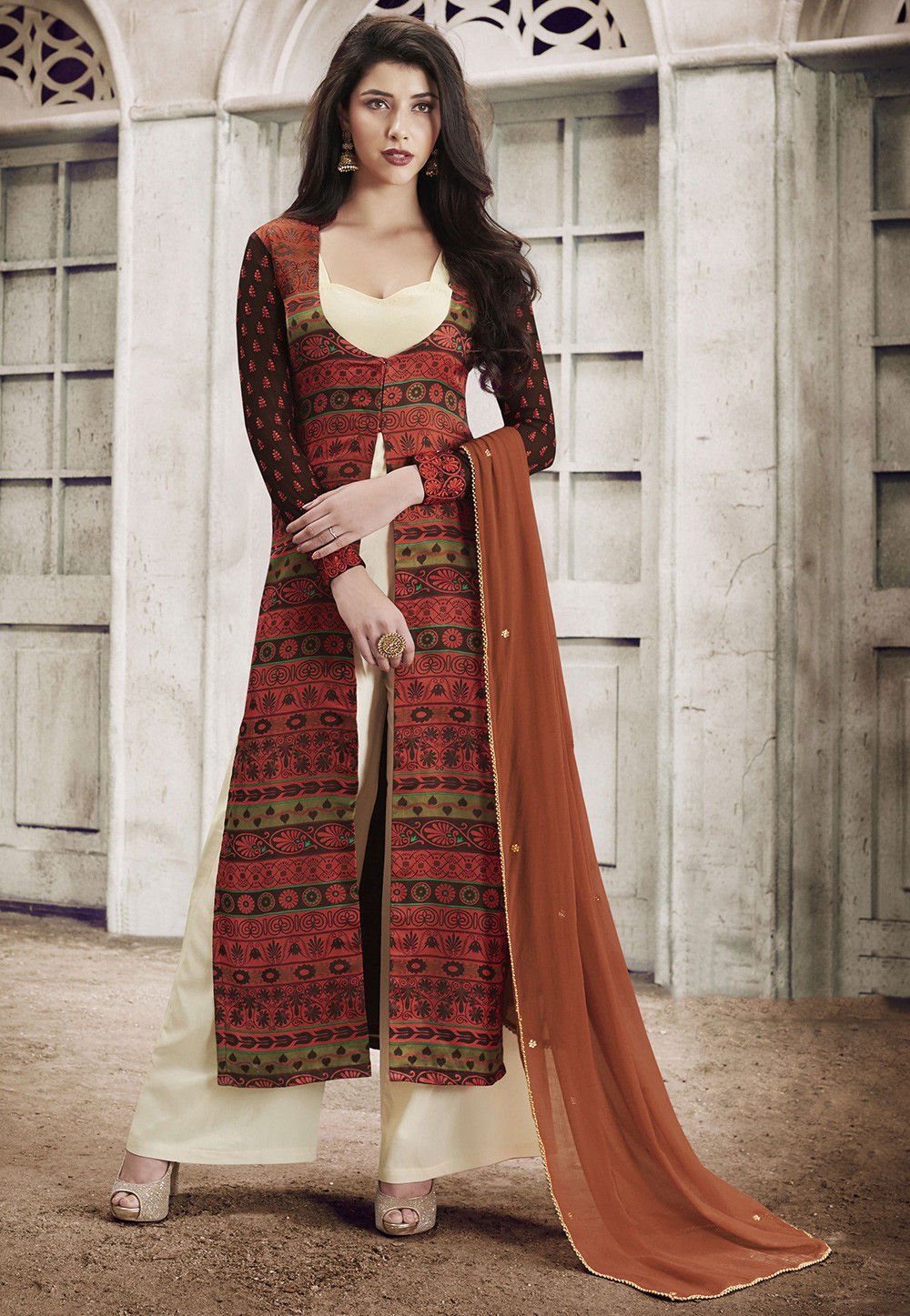 Printed Satin Pakistani Suit in Rust