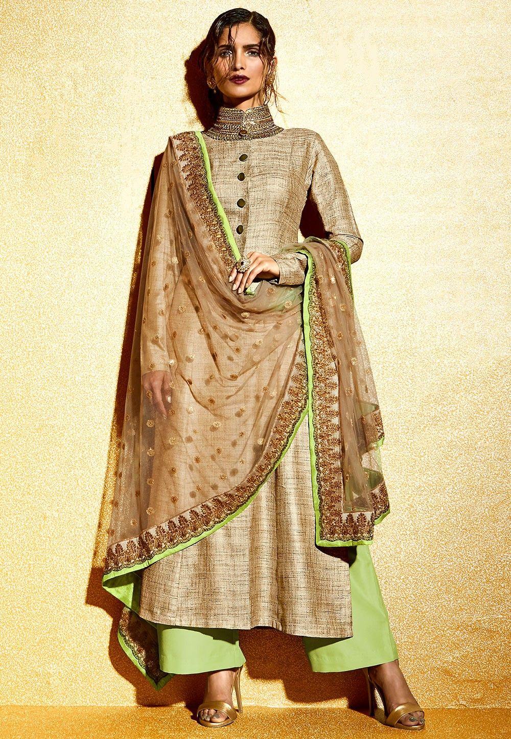 Embroidered Khadi Silk Pakistani Suit in Beige