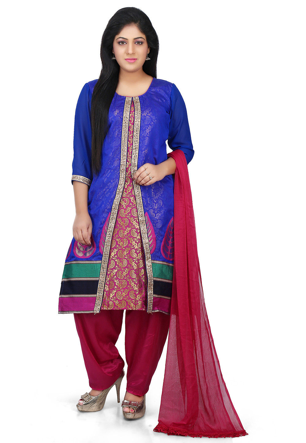 Printed Chanderi Jacket Style Suit in Royal Blue and Fuchsia