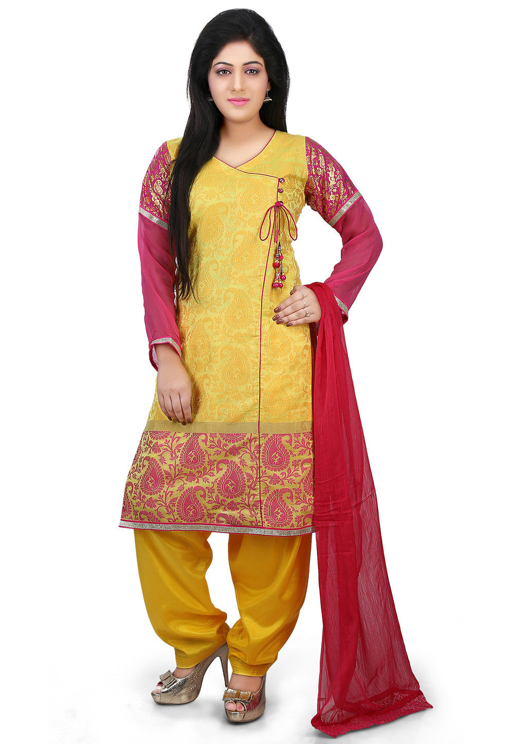Chanderi Jacquard Angrakha Style Punjabi Suit in Yellow