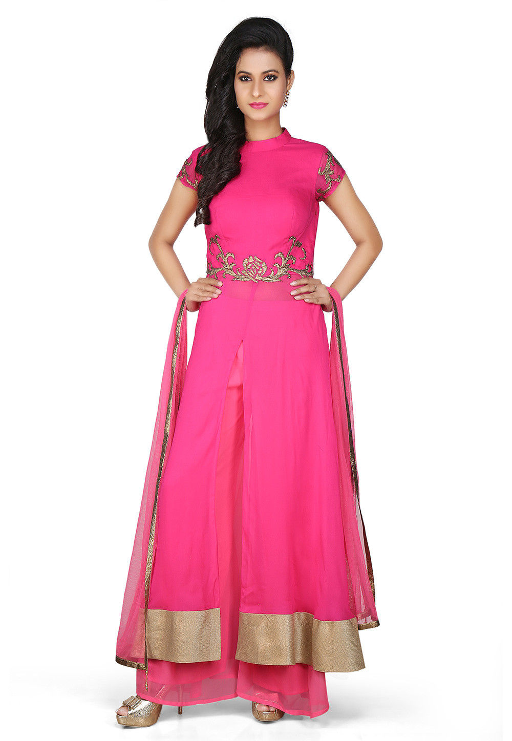 Embroidered Viscose Georgette Front Slit Pakistani Suit in Pink
