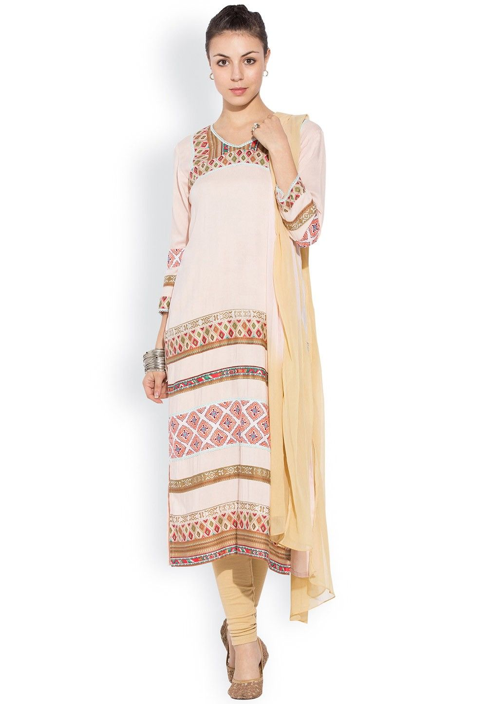 Printed Straight Cut Suit in Beige