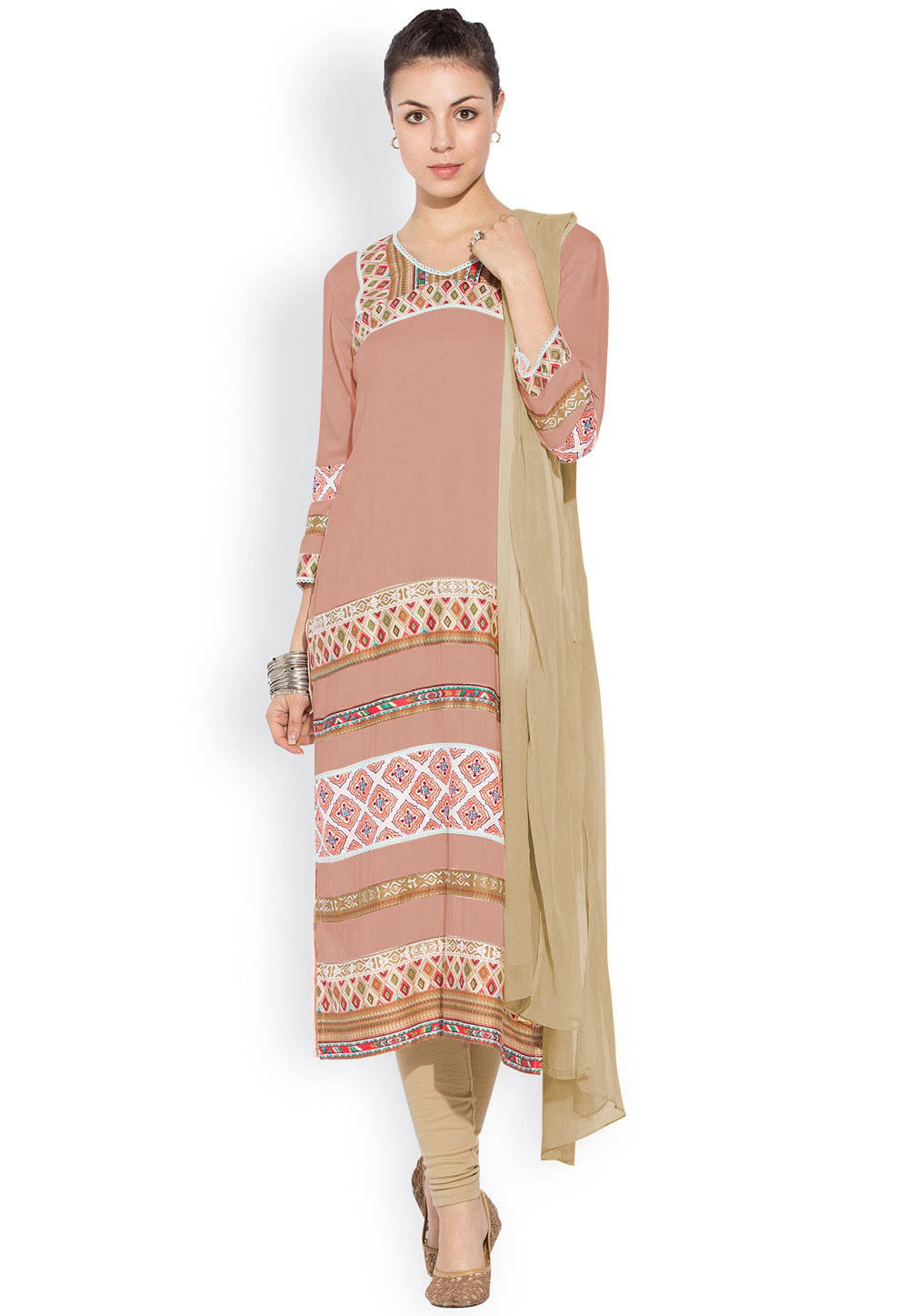 Printed Straight Cut Suit in Dusty Peach