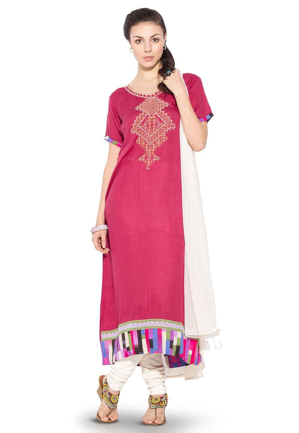 Embroidered A Line Rayon Cotton Suit in Fuchsia