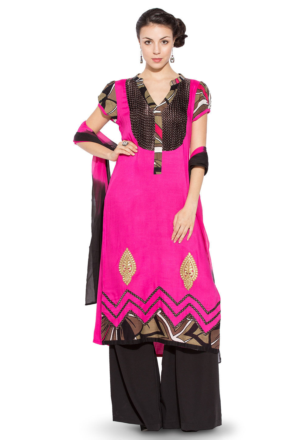 Printed Rayon Cotton Pakistani Suit in Fuchsia