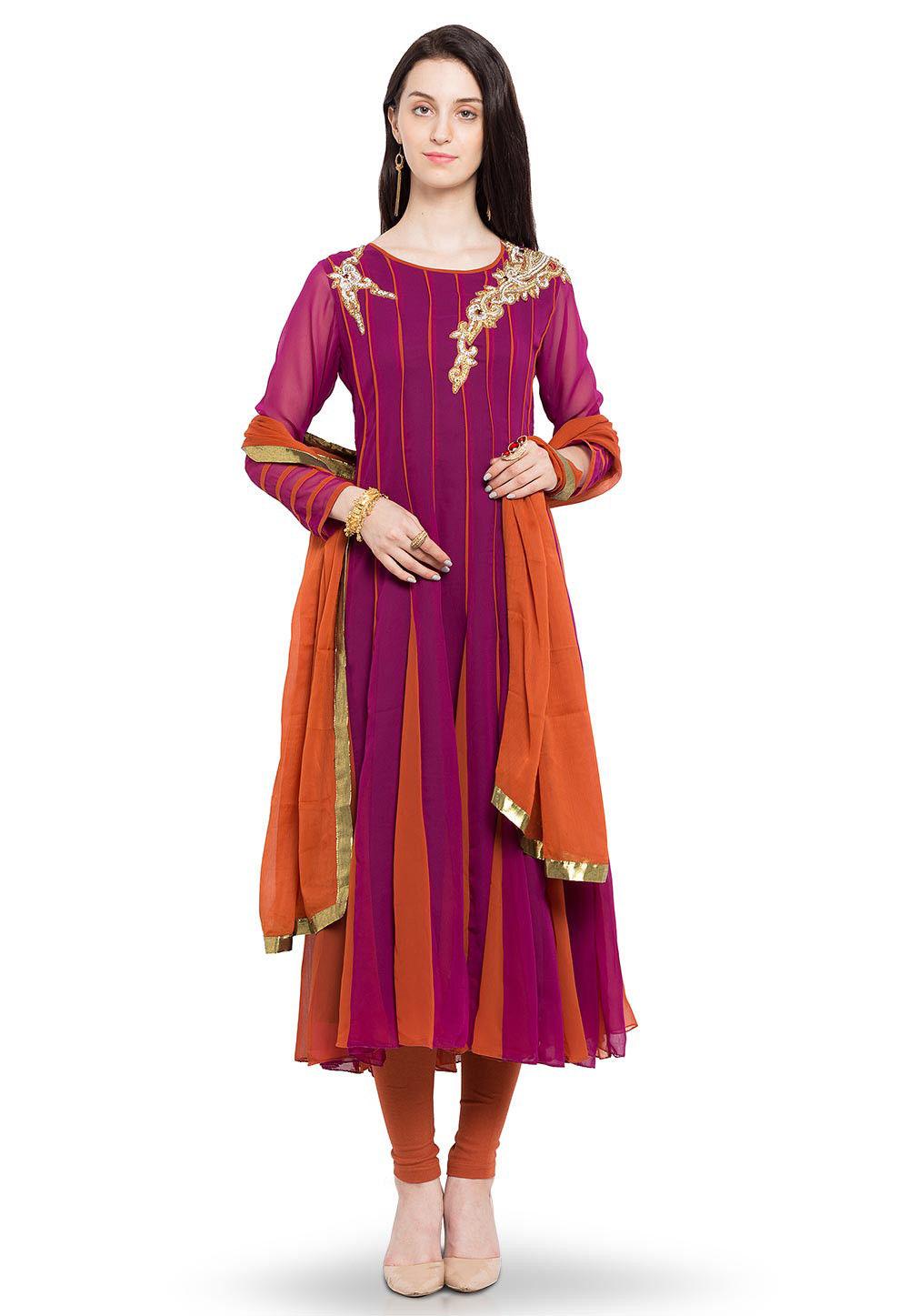 Hand Embroidered Anarkali Georgette Suit in Magenta