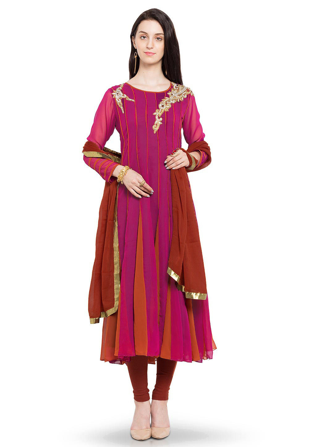 Hand Embroidered Anarkali Georgette Suit in Magenta