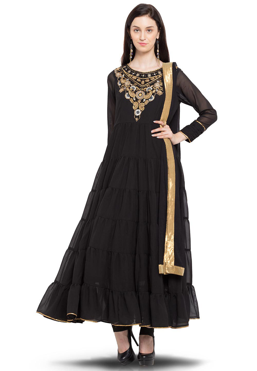 Hand Embroidered Anarkali Georgette Suit in Black