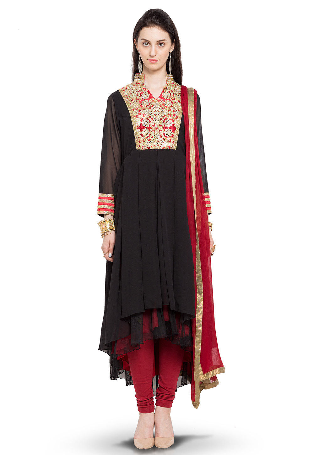 Hand Embroidered Asymmetric Anarkali Georgette Suit in Black