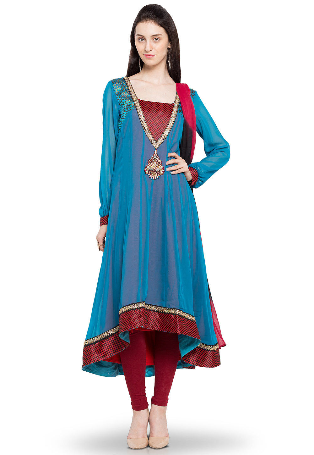 Embroidered Asymmetric Anarkali Georgette Suit in Blue