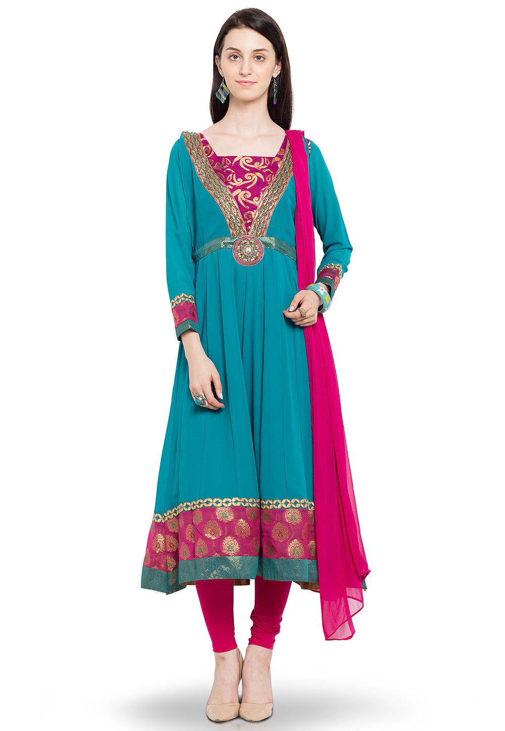 Embroidered Anarkali Georgette Suit in Teal Blue
