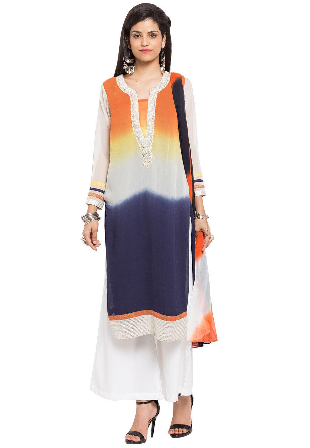 Plain Georgette Pakistani Suit in Multicolor