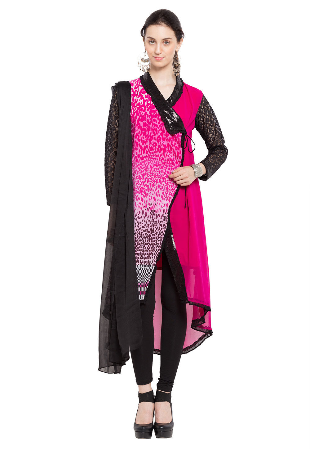 Printed Georgette Asymmetric A Line Suit in Fuchsia