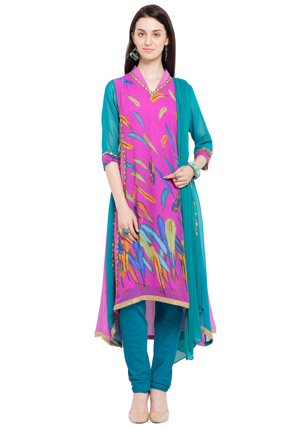 Printed Georgette Asymmetric A Line Suit in Pink