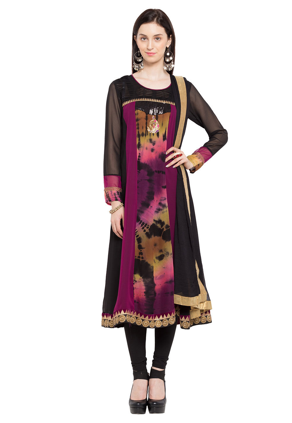 Printed Georgette Straight Cut Suit in Multicolor