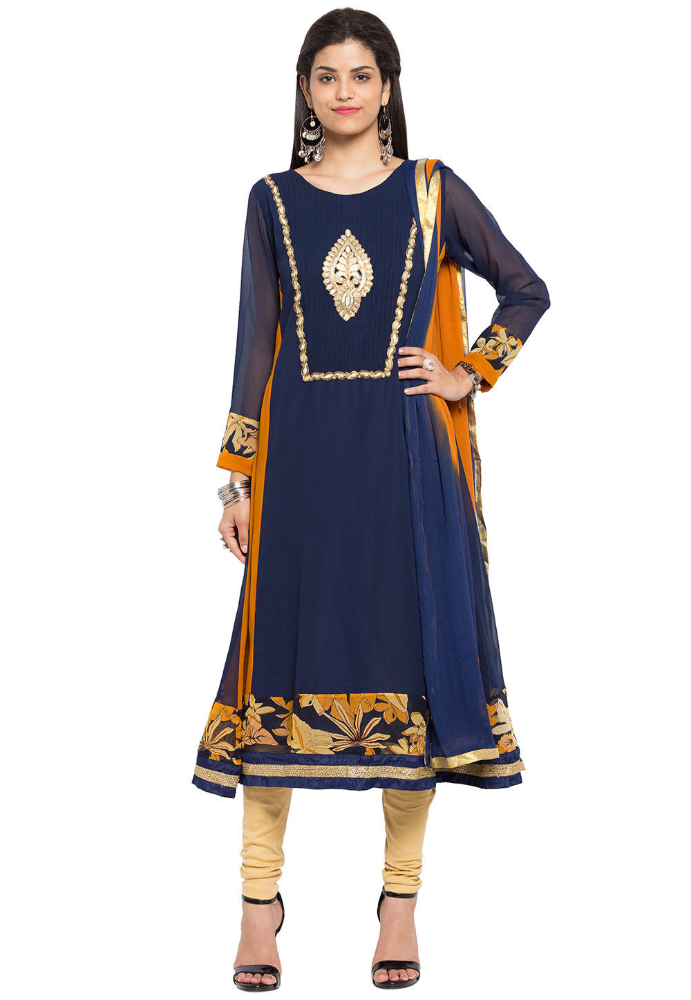 Printed Border Georgette A Line Suit in Blue