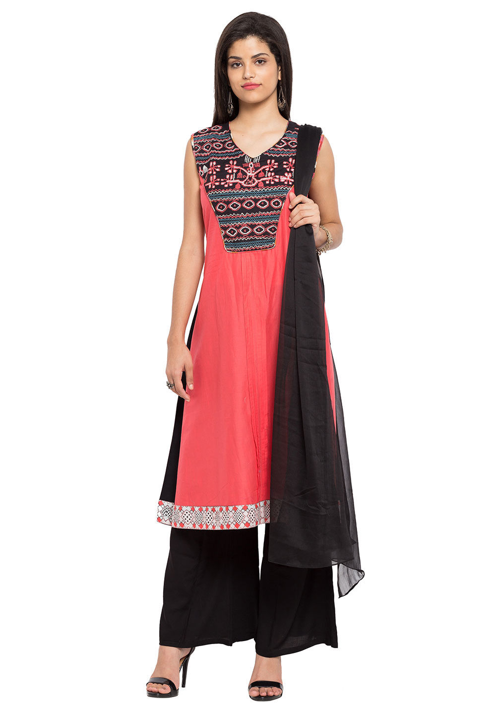 Embroidered Cotton Pakistani Suit in Coral