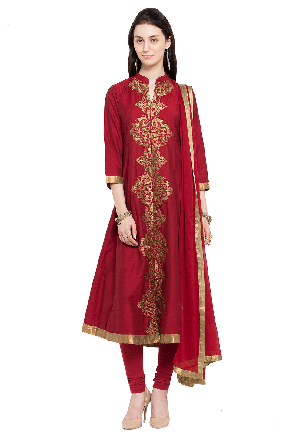 Embroidered Cotton Silk Front Slit A Line Suit in Maroon